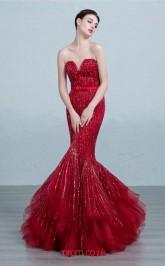 Burgundy Tulle Mermaid Sweetheart Floor Length Prom Dress(JT3686)
