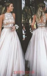 Blushing Pink Tulle Halter Princess Long Two Piece Prom Dress(JT3738)