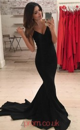Black Satin V-neck Straps Trumpet/Mermaid Long Celebrity Dress(JT3742)