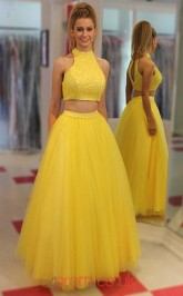 Yellow Tulle A-line Halter Floor-length Two Piece Prom Dress(JT3814)