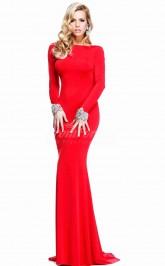 Knitwear Mermaid Sweep Train Prom Dress with Long Sleeves(PRJT04-0941)