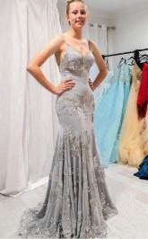 Elegant Mermaid Gray Long Prom Evening Dress with Open Back JTA1611