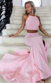 Two Piece High Neck Mermaid Satin Pink Long Prom Dress with Split  JTA8921