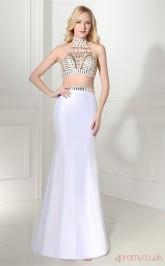 White Taffeta Trumpet/Mermaid Halter Illusion Sleeveless Two Pieces Prom Dresses(JT4-06412)