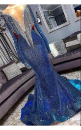 Luxurious Mermaid Sequins Long Sleevess Sheer Neckline Celebrity Gowns Prom Dress JTC001