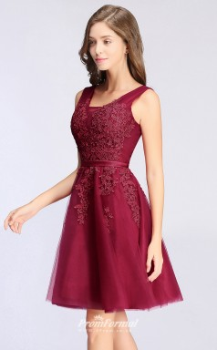 Cheap In Stock Sexy A Line V Neck Lace Burgundy Short Prom Dresses Summer Bridesmaid Dresses UKCPS341