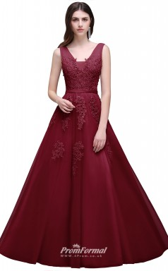 Cheap A Line Sexy Deep-V Back Bead Lace Long Tulle Evening Dresses Plus Size Bridesmaid Dresses UKCPS304