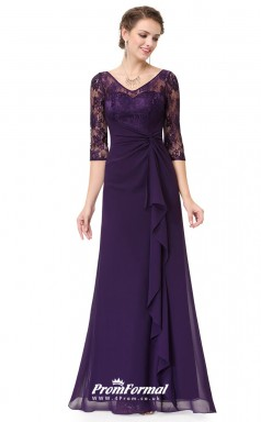 Grape Illusion Half Sleeve Bridesmaid Dresses 4MBD004