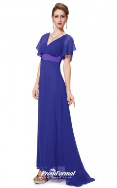 Blue V-neck Short Sleeve Bridesmaid Dresses 4MBD005