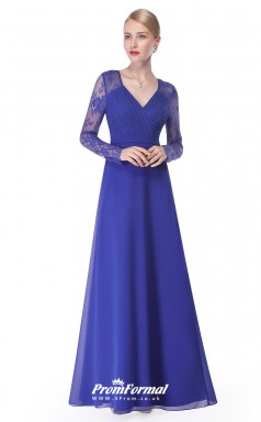 Blue V-neck Long Sleeve Bridesmaid Dresses 4MBD007