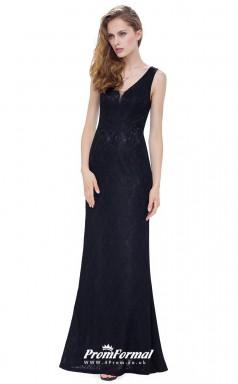 Black V-neck Bridesmaid Dresses 4MBD008