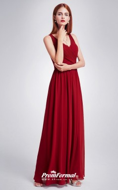 Burgundy V-neck Bridesmaid Dresses 4MBD013