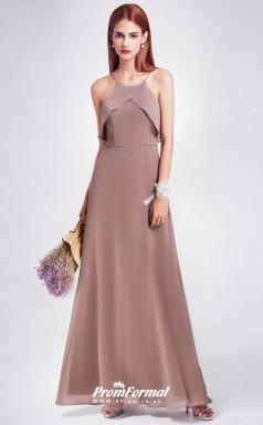Chocolate Straps Bridesmaid Dresses 4MBD031