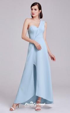 Sky Blue One Shoulder Bridesmaid Dresses 4MBD032
