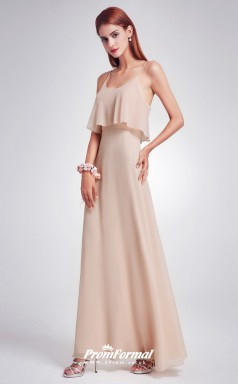 Champagne Straps Bridesmaid Dresses 4MBD034