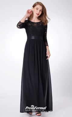 Black Illusion Long Sleeve Bridesmaid Dresses 4MBD039