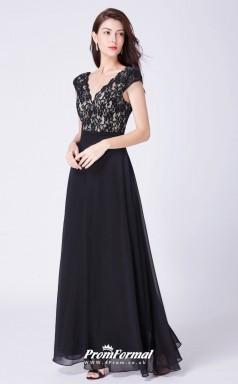 Black V-neck Bridesmaid Dresses 4MBD050