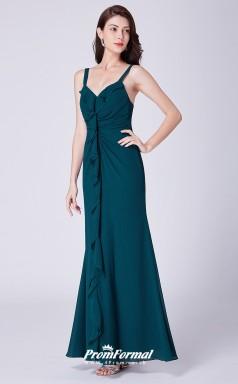 Ink Blue Straps Bridesmaid Dresses 4MBD061