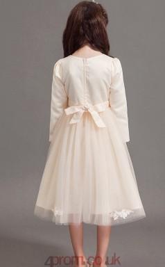 Princess Jewel Half Sleeve Gray Satin Chiffon Tulle Tea-length Children's Prom Dress(AHC018)
