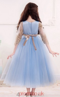 Princess Jewel Half Sleeve Sky Blue Tulle Ankle-length Children's Prom Dress(AHC020)