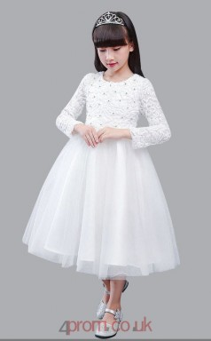 A-line Jewel Long Sleeve Candy Pink Organza Lace Tea-length Children's Prom Dress(AHC027)