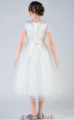 A-line Jewel Short Sleeve Beige Charmeuse Satin Tea-length Children's Prom Dress(AHC030)
