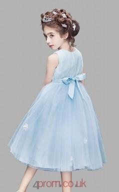 Princess Jewel Sleeveless Sky Blue Tulle Tea-length Children's Prom Dress(AHC032)
