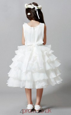 Ball Gown Jewel Sleeveless White Lace Organza Tea-length Children's Prom Dress(AHC033)