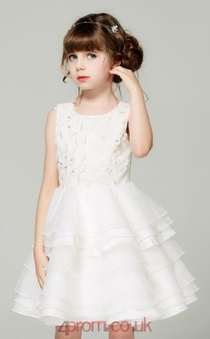 Ball Gown Jewel Sleeveless Ivory Organza Knee-length Children's Prom Dress(AHC039)