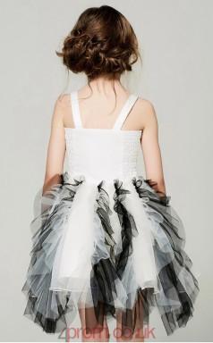 Princess Straps Sleeveless Black and White Tulle Mini Children's Prom Dress(AHC040)