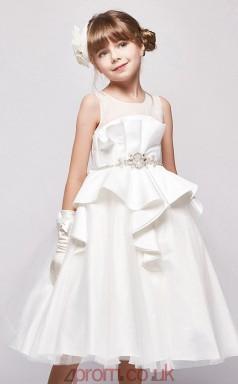 Princess Illusion Sleeveless White Satin Organza Tea-length Children's Prom Dress(AHC042)