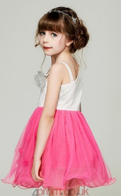 Princess One Shoulder Long Sleeve Peach Tulle Sequined Mini Children's Prom Dress(AHC046)