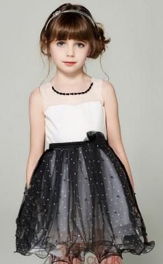 Princess Illusion Sleeveless Black Tulle Mini Children's Prom Dress(AHC048)