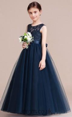 A-line Jewel Sleeveless Navy Blue Tulle Floor-length Children's Prom Dress(AHC053)