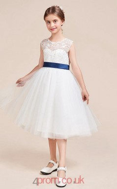 Princess Jewel Short Sleeve White Lace Tulle Knee-length Children's Prom Dress(AHC059)