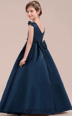 021a83bad A-line Jewel Short Sleeve Dark Navy Satin Floor-length Children's Prom Dress (
