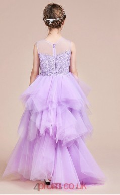 Princess Illusion Sleeveless Lilac Tulle Lace Asymmetrical Children's Prom Dress(AHC063)