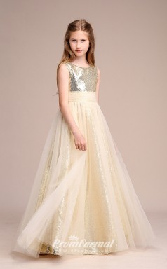 Champagne Sequined Tulle Kids Girl Birthday Party Dress BCH035