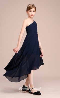 Navy Blue Chiffon Kids Girl High Low Bridesmaids/Wedding Party Dress BCH044