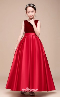 Affordable Burgundy Jewel Junior Bridesmaid Dress Floor-length Pageant Dress With Bows BCH048