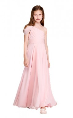 Affordable Pink One Shoulder Junior Bridesmaid Dress Floor-length Pageant Dress BCH052