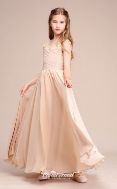 Affordable Champagne V-neck Junior Bridesmaid Dress Floor-length Pageant Dress With Lace Details BCH053