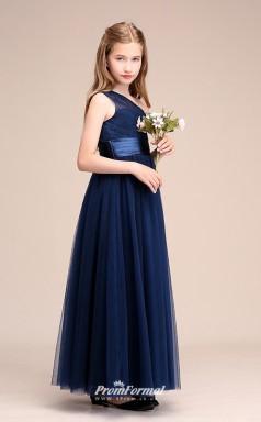 Affordable Navy Blue One Shoulder Junior Bridesmaid Dress Floor-length Pageant Dress BCH056