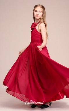 Affordable Burgundy Halter Junior Bridesmaid Dress Floor-length Pageant Dress With Handmade Flowers BCH058