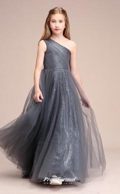 Affordable Silver One Shoulder Junior Bridesmaid Dress Floor-length Pageant Dress BCH062