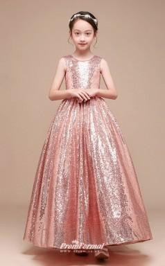 Affordable Pink Jewel Junior Bridesmaid Dress Floor-length Pageant Dress BCH064