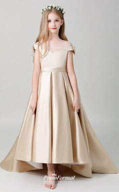 Affordable Champagne Off Shoulder High Low Pageant Dress BCH065
