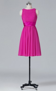 A-line Fuchsia Chiffon Mini/Short Prom Dress(PRBD04-S402)