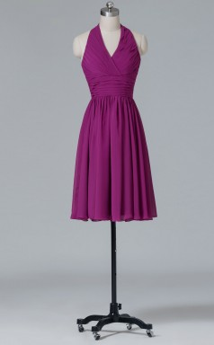 A-line Dark Fuchsia Chiffon , Lace Mini/Short Prom Dress(PRBD04-S423)