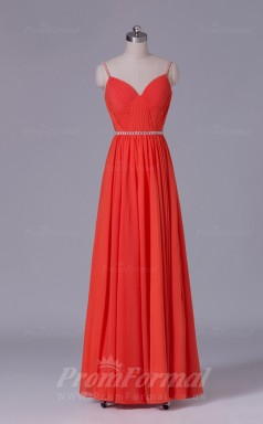 A-line Drak Orange Chiffon Floor-length Prom Dress(PRBD04-S486)
